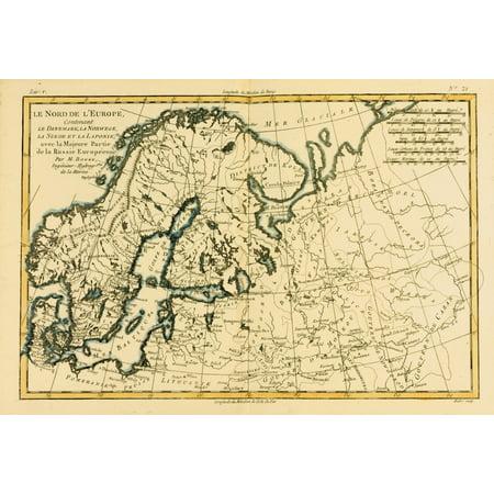Map Of Northern Europe Circa1760 From Atlas De Toutes Les Parties Connues Du Globe Terrestre  By Cartographer Rigobert Bonne Published Geneva Circa 1760 Posterprint