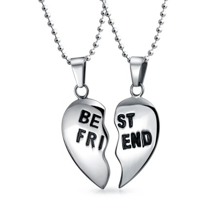 Break Apart 2PC Gift For BFF Best Friend Puzzle Heart Pendant Necklace For Women For Teen Silver Tone Stainless