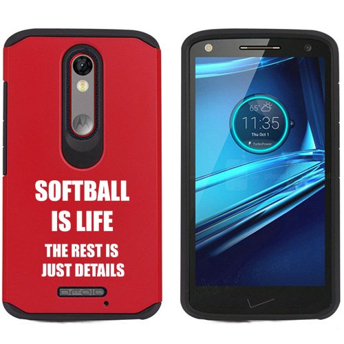 Motorola Droid Turbo 2 Shockproof Impact Hard Soft Case Cover Softball Is Life (Red)