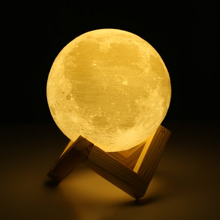 (Rechargeable 3D Print Moon LED Lamp 2 Color Change Touch Switch Bedroom Bookcase Night Light Home Decor Creative Gift)