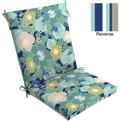 Mainstays Outdoor Chair Cushion, Blue Floral