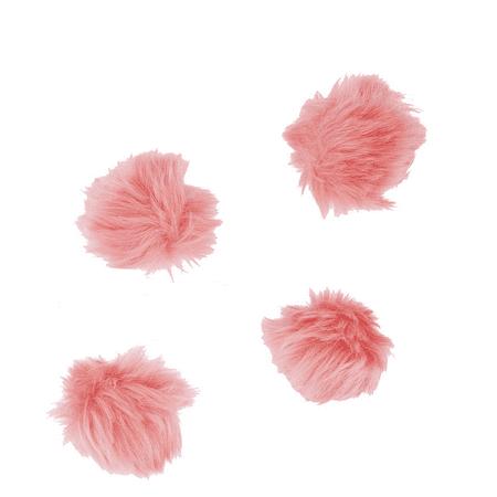 - Lux Accessories Blush Baby Pink Fur Breast Cancer Pom Pom Hair Clip Set (4PCS)