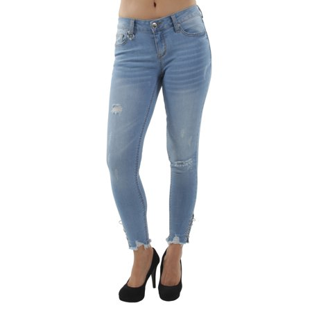 Classic Premium Denim, Slight Destruction, Skinny Crop (7 Cropped)