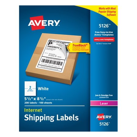 Archival Permanent Labels (Avery(R) Internet Shipping Labels, TrueBlock(R) Technology, Permanent Adhesive, 5-1/2