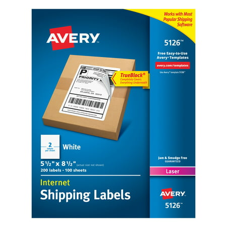 "Avery(R) Internet Shipping Labels, TrueBlock(R) Technology, Permanent Adhesive, 5-1/2"" x 8-1/2"", 200 Labels (5126)"