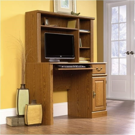 Bowery Hill Small Wood Computer Desk with Hutch in Carolina Oak