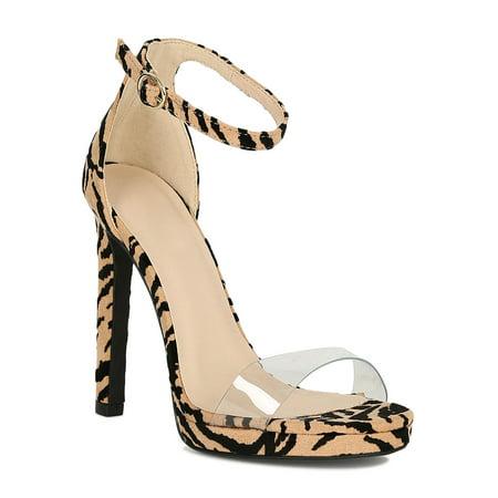 Women Animal Print Clear Open Toe Ankle Strap Stiletto Platform Heel Sanda 19052 ()