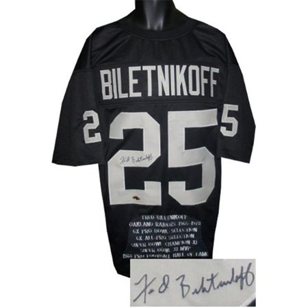 - CTBL-015924N Fred Biletnikoff Signed Black TB Custom Stitched Pro Style Football Jersey with Embroidered Stats, Extra Large