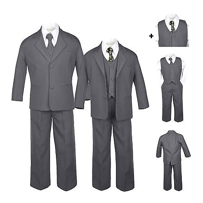Baby Boy Kid Teen Dark Gray Wedding Formal Party Tuxedo Suit Dot Black Tie S-20 - Dark Black Teens