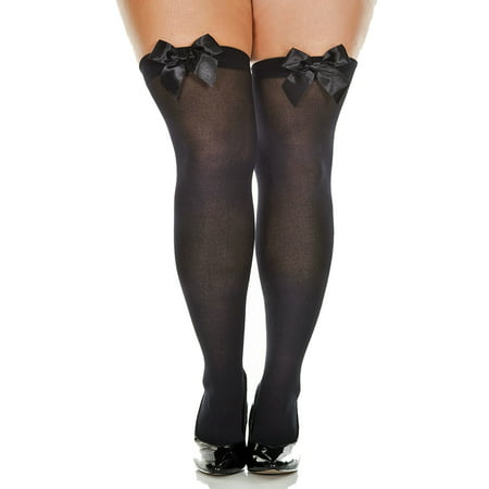 Lacy Line Plus Size Opaque Thigh High Stockings With Satin