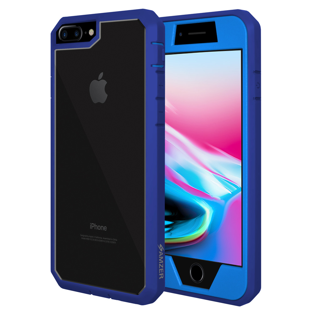 iPhone 8 Plus Full Body Case, ScratchProof Guard Case with Built-in Screen Protector and Reinforced ShockProof Bumper for Apple iPhone 8 Plus - Blue, Ultra Light, Transparent Back