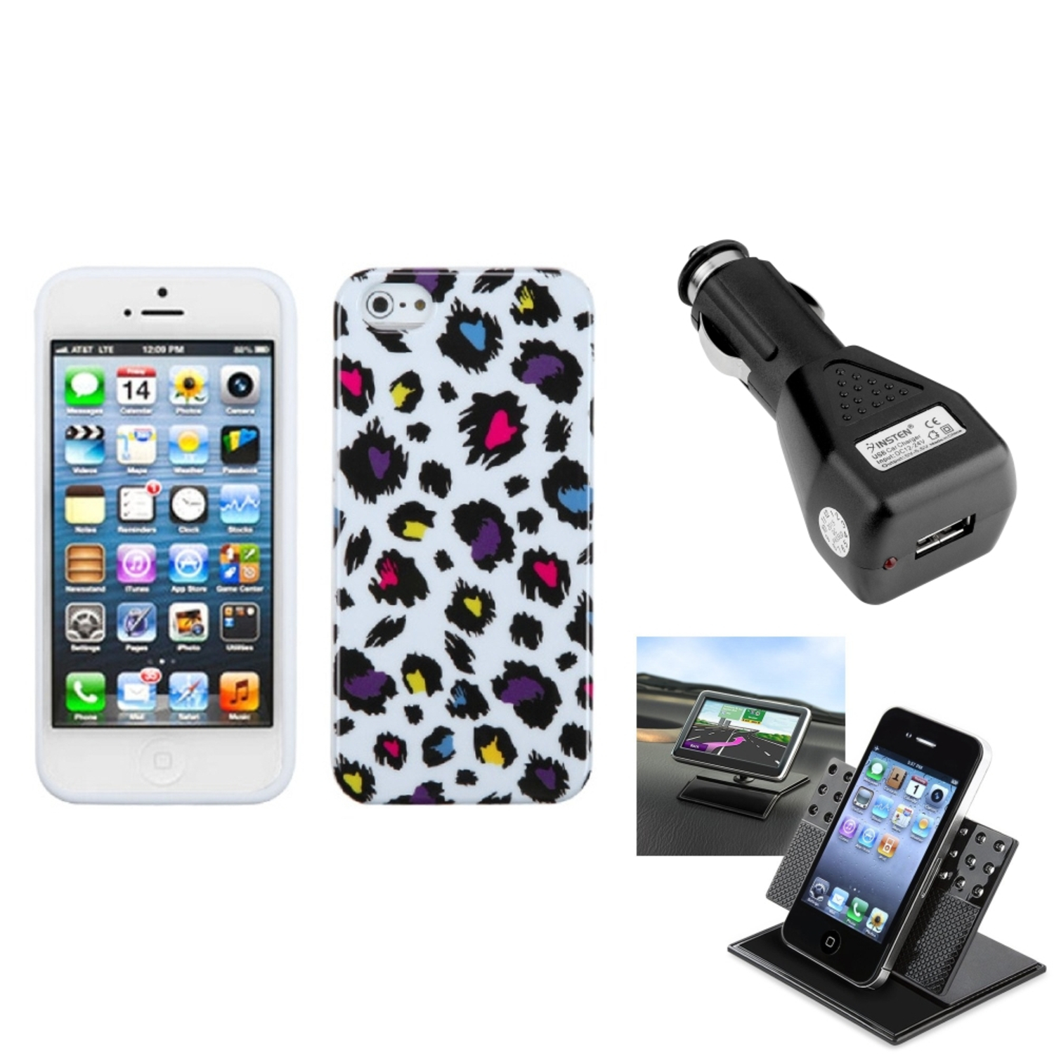 Insten Car Charger Holder Jagged Colorful Leopard Candy Skin Case For APPLE iPhone 5