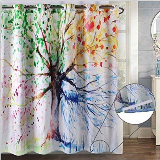 ZSZT Shower Curtain Built In Eyelets Design For Flexible