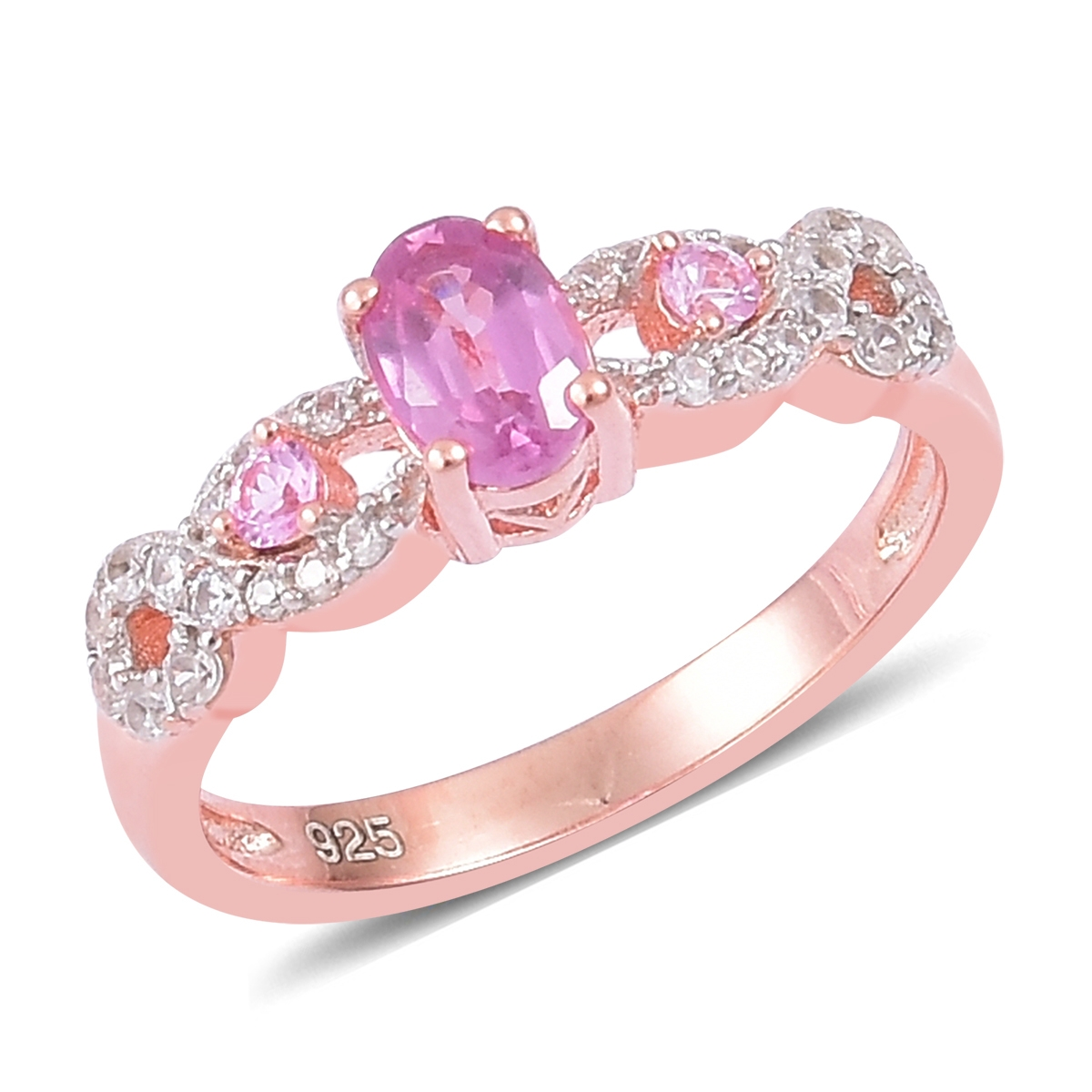 Pink Sapphire, White Zircon 14K Rose Gold Plated Silver Ring 0.82 ...