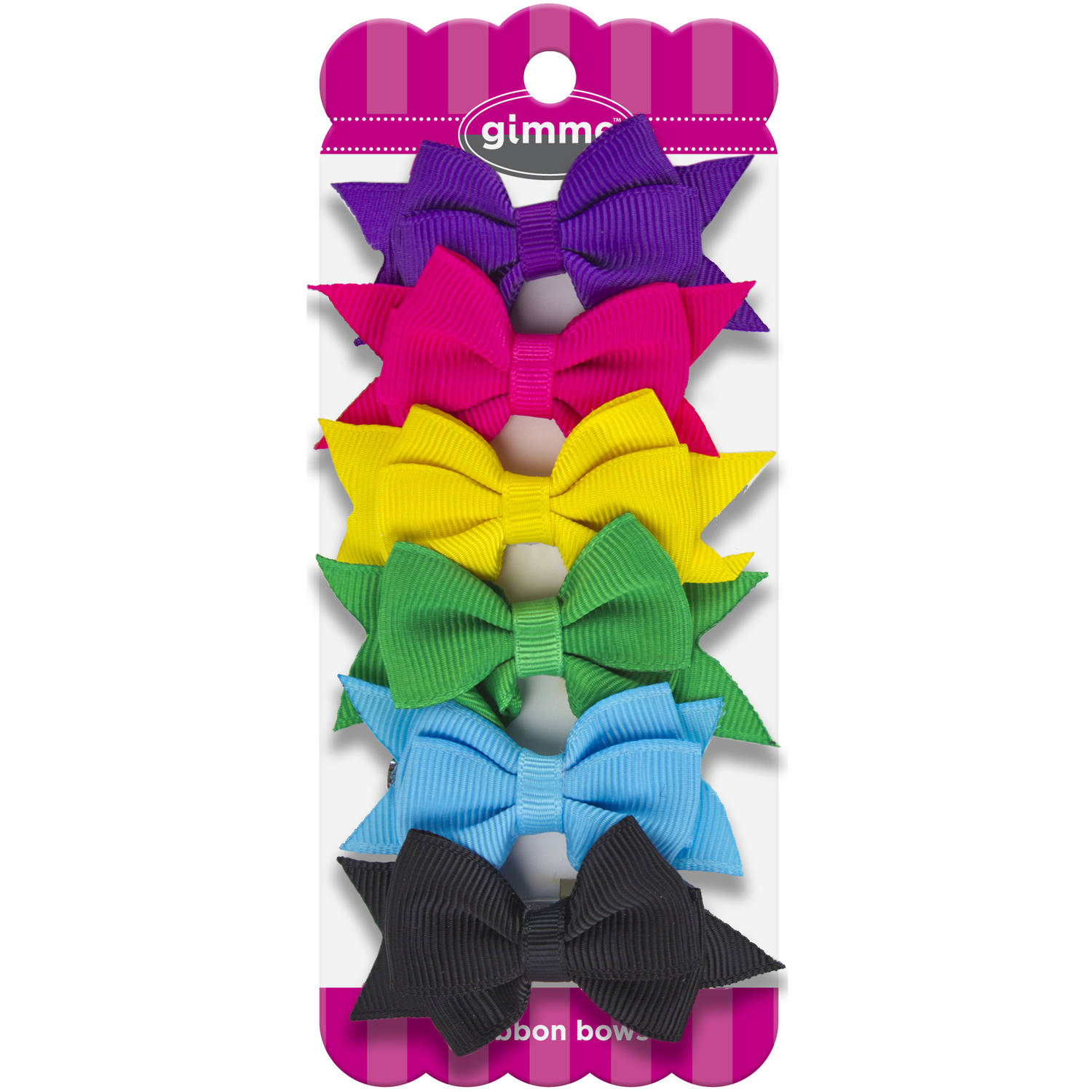 Gimme Bright Ribbon Bow Barrettes, 6 count
