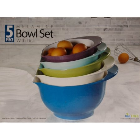 Melamine Bowl Sets with Lids (Set of 5) -