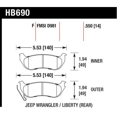 Hawk 04-07 Jeep Liberty KJ / 04-06 Wrangler Unlimited HPS Street Rear Brake (Jeep Liberty Brake Pads)
