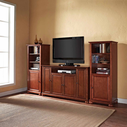 """Alexandria 60"""" TV Stand and 2 60"""" Audio Piers in Classic Cherry"""