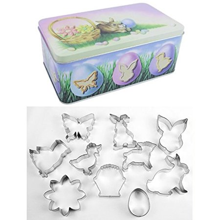 10 Piece Easter and Springtime Cookie Cutter Set in Metal Gift (Fall Cookie Gift Box)