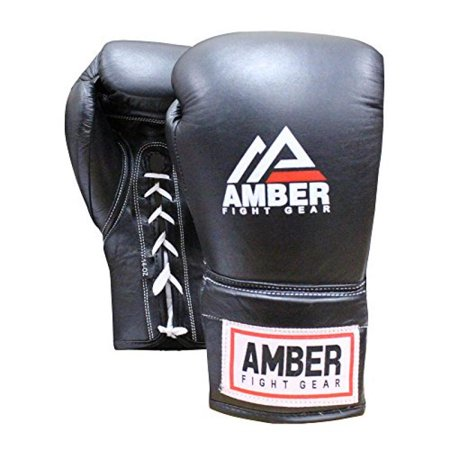 Amber Sporting Goods ABG-3007-26-B Professional Laceup Gloves 26oz All Leather Construction- Well padded for protection- Attached thumb for safety- Comfortable fit with handwraps- Great all around training/ sparring gloves- SKU: AMBERSG028