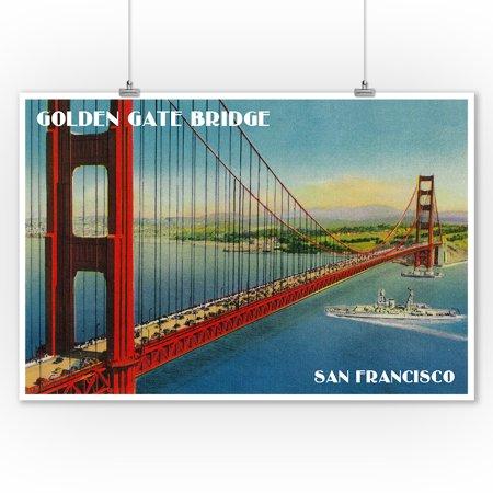 Golden Gate Bridge from Marin Shore - San Francisco, CA (9x12 Art Print, Wall Decor Travel (Best Place To Score Heroin In San Francisco)