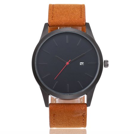 Fashionable Stylish Casual Vintage Calendar Quartz Watch Wristwatch with Leather Strap Band for Men Women
