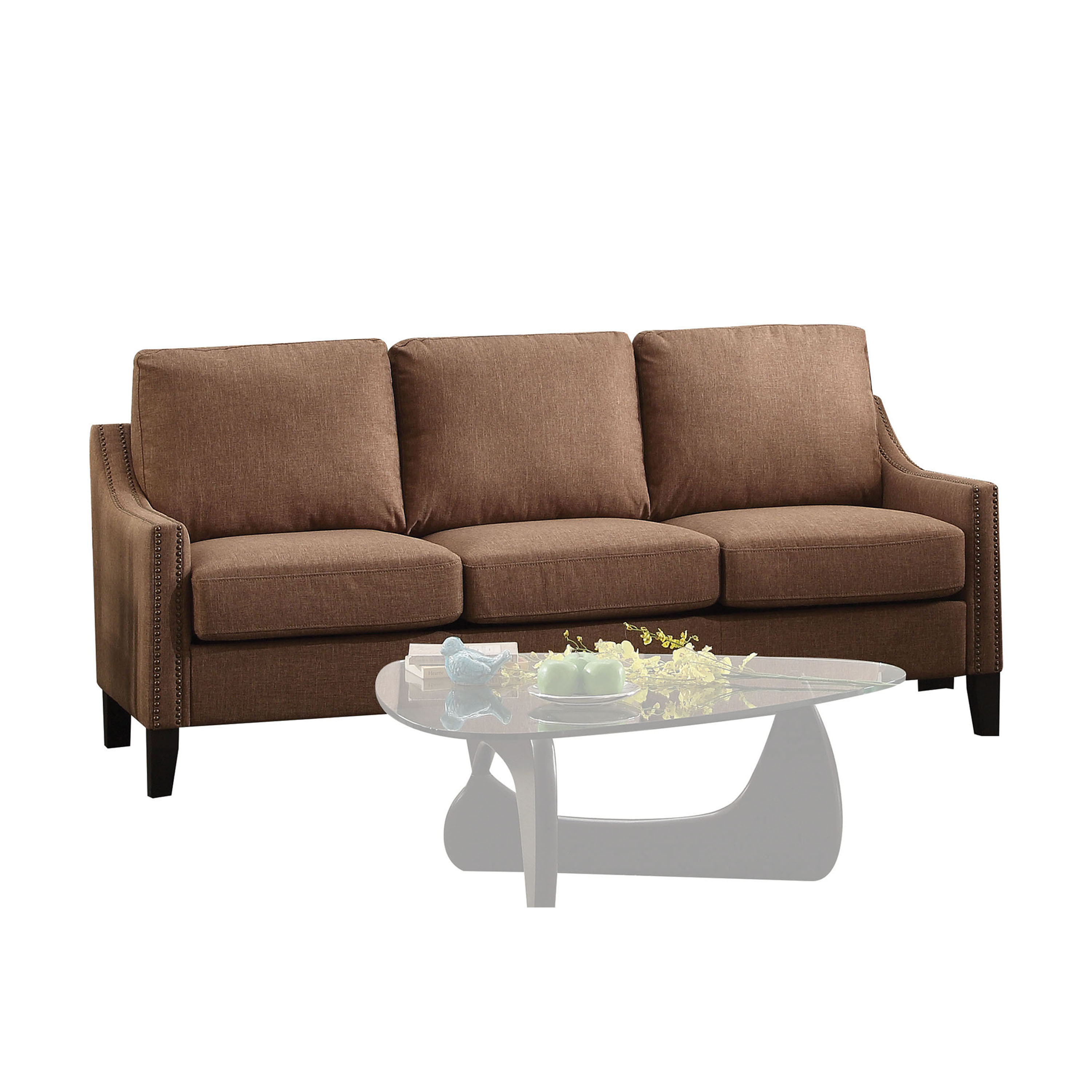 ACME Zapata Jr Nailhead Sofa in Brown Linen Upholstery by Acme Furniture
