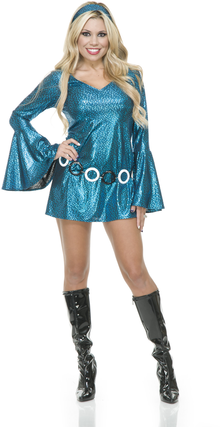 Womens Teal And Black Disco Diva Short Skirt Dress 70u0027s Dance Costume  sc 1 st  Walmart : disco diva costumes  - Germanpascual.Com