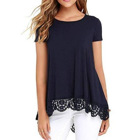 LELINTA Women's Casual Crochet Hem Tunic Tops Short Sleeve T-Shirt Blouse Lace Trim O-Neck A-Line Top