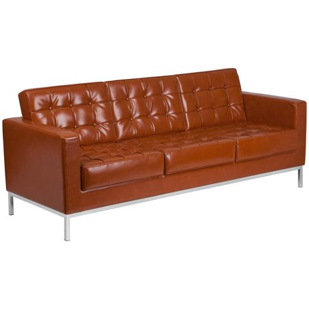 Contemporary Cognac Leather Sofa with Stainless Steel Frame
