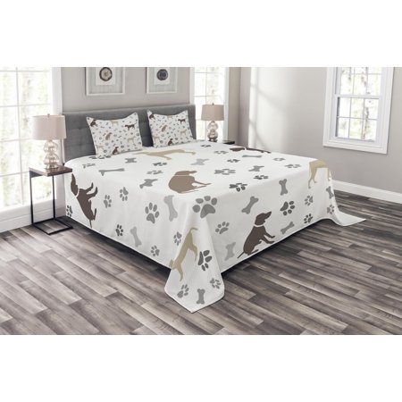 Dog Lover Bedspread Set, Paw Print Bones and Dog Silhouettes American Foxhound Breed Playful Pattern, Decorative Quilted Coverlet Set with Pillow Shams Included, Umber Beige Grey, by Ambesonne