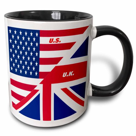 3dRose US n UK Flags Joined, Two Tone Black Mug, 11oz (N Tone)