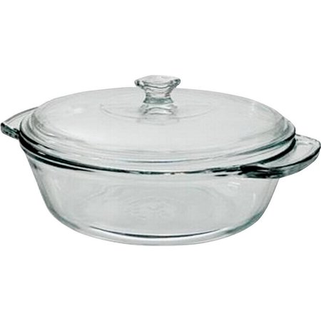 Anchor Hocking Oven Basics Casserole Bowl, 2 qt, Clear Glass, 10.44 in L x 11-3/4 in W x 11-3/4 in (11 Inch Round Casserole)