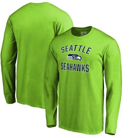Seattle Seahawks NFL Pro Line by Fanatics Branded Victory Arch Long Sleeve T-Shirt - Neon Green Nfl Seattle Seahawks Cotton