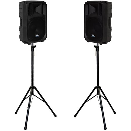 "Seismic Audio Pair of Molded Powered 15"" 2-Way PA Loudspeakers with two Tripod Speaker Stands... by"