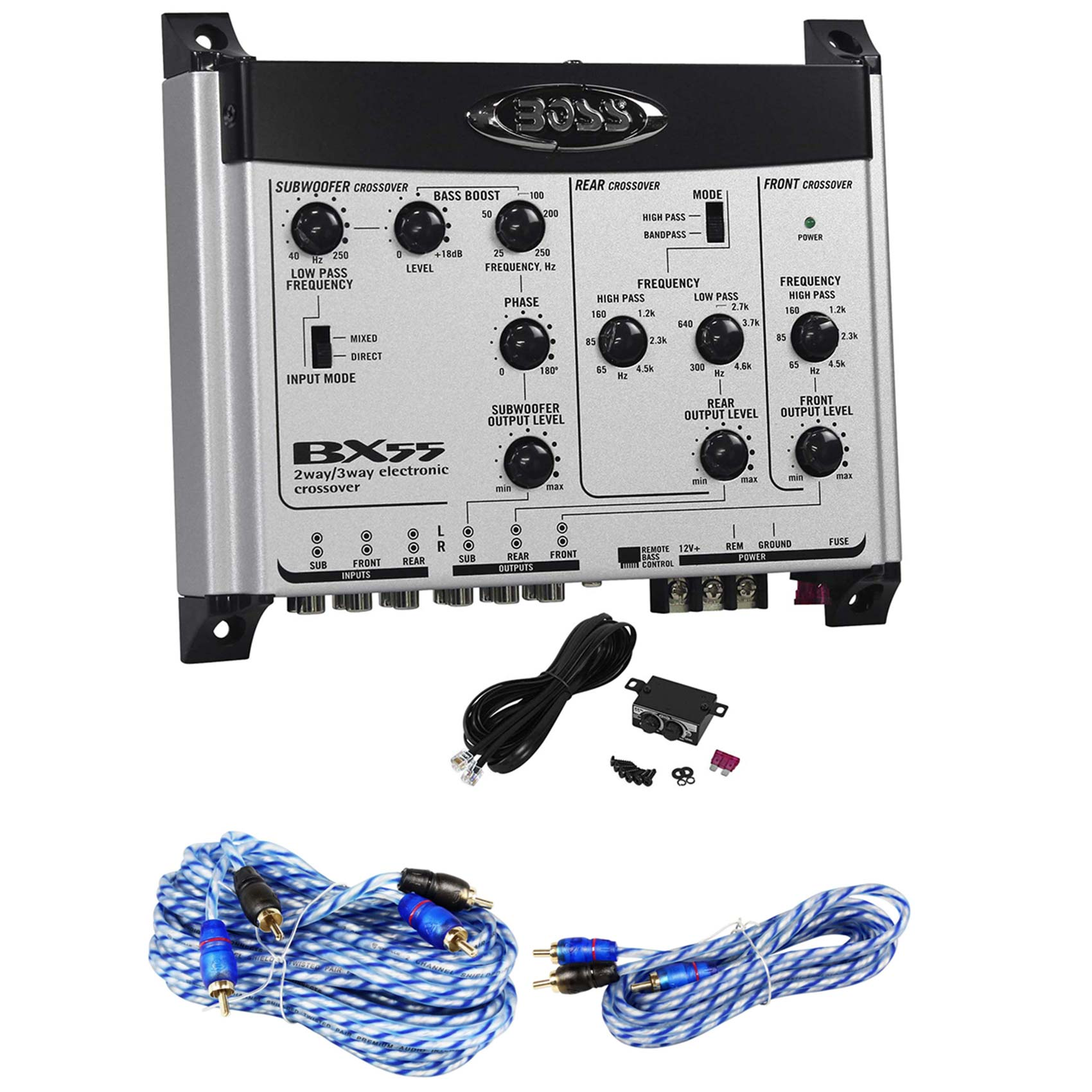 Boss International BX55 2/3Way Car Electronic Crossover+Bass Remote+17 ft.+ 6 ft. RCA Cables