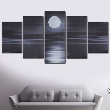 5Pcs Pictures Modern Abstract Oil Painting Canvas Moonlit Night Art Picture Prints Home Wall Decor Gift UnFrame