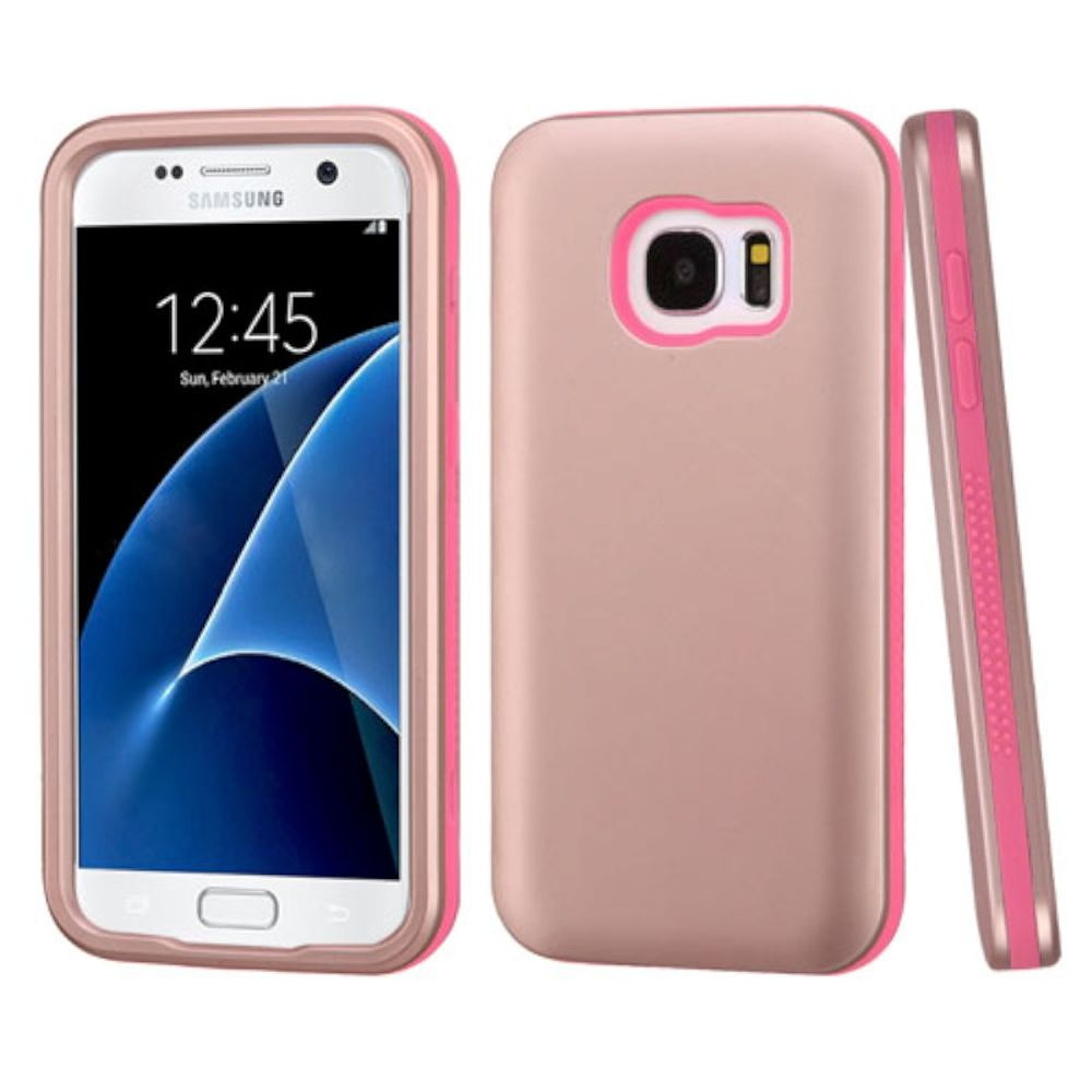 Insten Verge Hard Dual Layer Rubber Silicone Cover Case For Samsung Galaxy S7 - Rose Gold/Pink