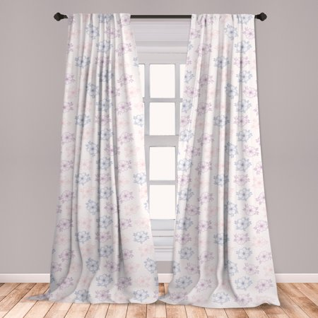 Anemone Flower Curtains 2 Panels Set, Bridal Corsage Design Garden Bedding Plants in Soft Colors, Window Drapes for Living Room Bedroom, Dried Rose Slate Blue, by Ambesonne ()