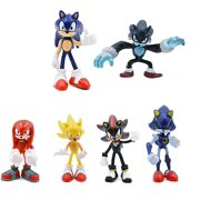 """6 Pcs Figure Set for Your Inspired Sonic World Birthday Party, Gifts, Decoration, or Collection - Shadow, Werehog, Metal Sonic, Knuckles & Super Sonic - Figures Range from 2"""" to 3"""" Tall"""