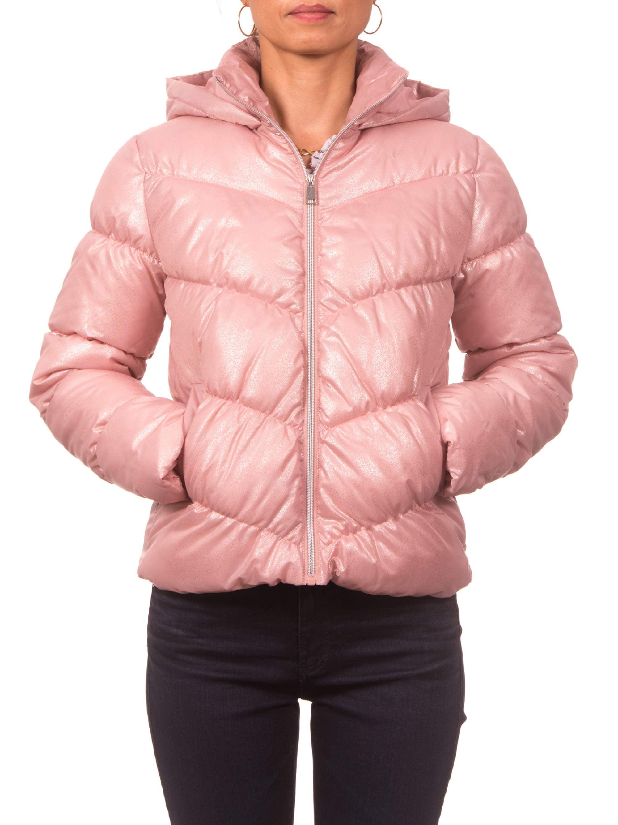 juniors spray foil printed puffer jacket