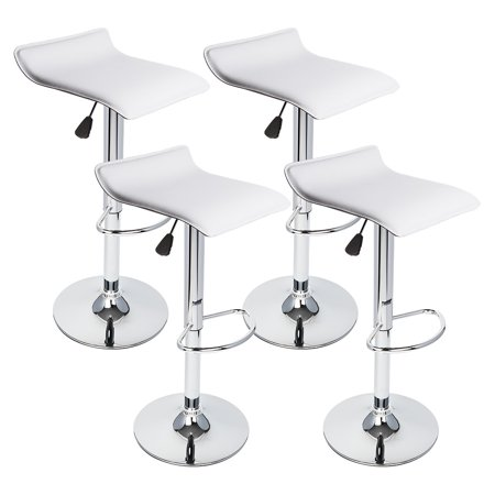 4 pcs white seat modern adjustable bar stool swivel pub
