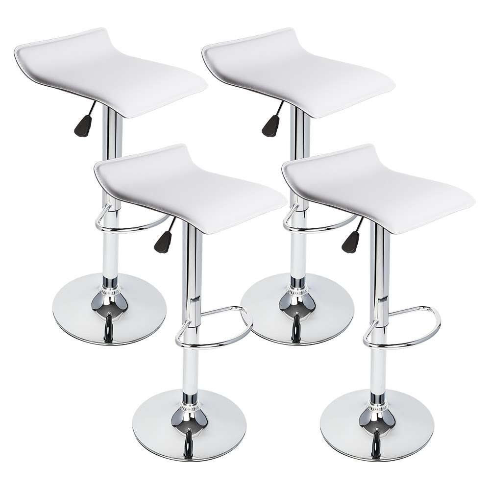 4 Pcs White Seat Modern Adjustable Bar Stool Swivel Pub Chair Counter Barstools