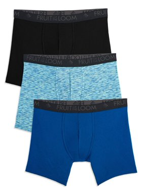 Fruit Of The Loom Men's Breathable Lightweight Micro-Mesh Print And Solid Boxer Briefs, 3 Pack