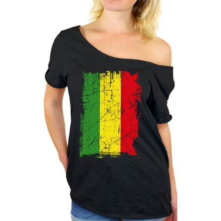 Awkward Styles Rasta Flag Tshirt for Girls Rasta Flag Ladies Clothing Collection Jamaica Off Shoulder Shirt for Women Reggae Lovers Gifts Reggae Themed Party Gift Rasta Off The Shoulder T-Shirt](60s Themed Clothing)