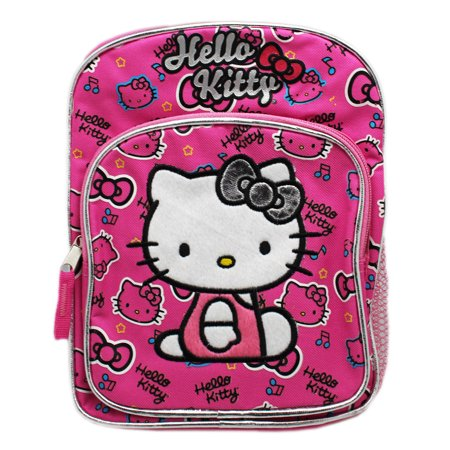 Hello Kitty Music Note and Hair Bow Pattern Hot Pink Mini Kids Backpack (10in)