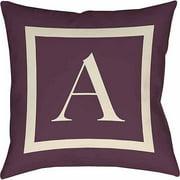 Thumbprintz Classic Block Monogram Decorative Pillow, Eggplant