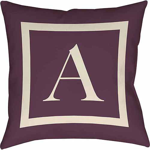 Thumbprintz Classic Block Monogram Decorative Pillow, Eggplant