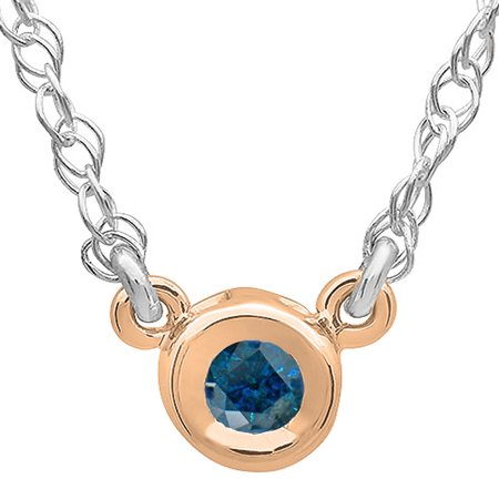 0.50 Carat (ctw) 14K Gold Round Blue Diamond Ladies Bezel Set Solitaire Pendant 1/2 (Half Bezel Set Solitaire)