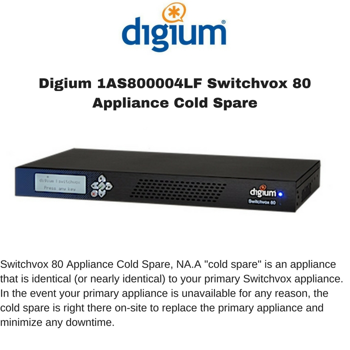 Digium 1AS800004LF Switchvox 80 Appliance Cold Spare, NA